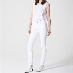 """AG """"The Prima"""" Mid Rise Cigarette White Jeans"""